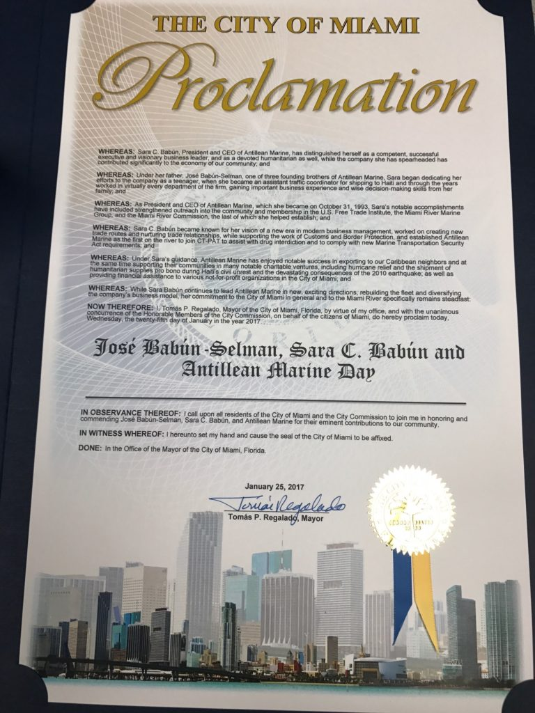 Key and proclamation of the Miami City